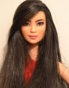 Machi- Asian Barbie Fashionistas Doll OOAK Repaint by - Beautiful Barbie Dolls, Pretty Dolls, Barbie Life, Barbie World, Ooak Dolls, Plush Dolls, Art Dolls, Vintage Barbie, Custom Barbie