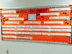 Music is Sweet bulletin board.  Students created candy rhythms.  Great for Halloween!