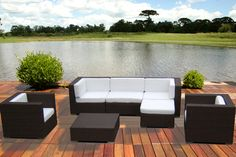 Outdoor Patio Wicker Furniture All Weather Vilano Deep Seating New Sectional Sofa Set Resin Wicker Patio Furniture, Sectional Patio Furniture, Patio Furniture Sets, Outdoor Furniture, Sectional Sofas, Outdoor Rocking Chairs, Outdoor Couch, Outdoor Living, Outdoor Spaces