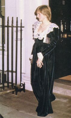 February 2, 1982:  Princess Diana at a British Film Institute dinner at 11 Downing Street, the Chancellor of the Exchequer's official residence,  London.