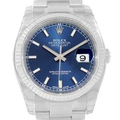 Rolex Datejust Steel White Gold Blue Baton Dial Watch 116234 Unworn
