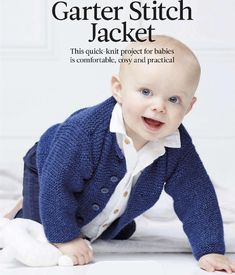 Garter Stitch Jacket-free knitting pattern This quick-knit project for babies is comfortable, cosy and practical THIS LITTLE jacket would make an excell Knitting Patterns Boys, Baby Sweater Patterns, Knit Baby Sweaters, Knitting For Kids, Free Knitting, Knitting Projects, Baby Knits, Baby Patterns, Boys Sweaters
