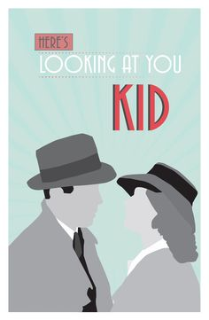 "Casablanca, Poster, quote poster, romantic print, ""here's looking at you kid"", Retro Art Deco,   via Etsy."