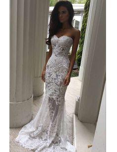 Modern Sweetheart Appliques Lace Mermaid Wedding Dresses on Luulla
