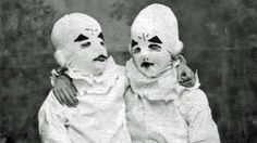 """One of the images of the Masked Ballerinas from the book version of""""Miss Peregrine's Home for Peculiar Children."""" Author Ramsom Riggs used old """"found"""" (and often times creepy) photographs that 'spoke to him' and helped in creating the story. From the Globe and Mail."""