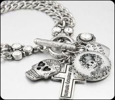 Day of the Dead Charm Bracelet, Dia de los Muertos Charm Bracelet, Day of the Dead Jewelry, Sugar Skull Bracelet - Blackberry Designs Jewelry
