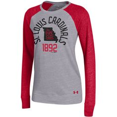 Women's St. Louis Cardinals Under Armour Gray/Red Great Escape Tri-Blend Baseball Long Sleeve Performance T-Shirt
