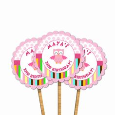 Printable Personalized Pink Owl Cupcake Toppers - available for birthday party, baby shower or any event. Personalized with your details. Pastel Colors Polka Dots  and Stripes. Party Favors Birthday Decorations DIY