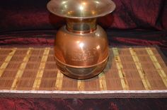 "Union Pacific RR Brass and Copper Spittoon with Weighted Base 11""x8 3/4"""