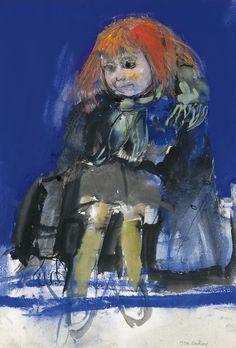 Joan Kathleen Harding Eardley (British artist) 1921 - 1963, The Green Scarf, s.d., gouache and ink