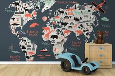 Kids-landmark-world-map-mural-wallpaper