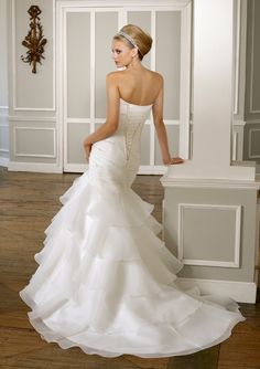 Shop Morilee's Bridal Organza Strapless Wedding Dress with a Tiered Ruffled Skirt. Wedding Dresses and Bridal Gowns by Morilee. This Organza strapless wedding Dress with a tiered ruffle skirt creating the perfect mermaid silhouette. Ruched Wedding Dress, Mori Lee Wedding Dress, Wedding Dress 2013, Cute Wedding Dress, Wedding Dresses Photos, Bridal Wedding Dresses, Wedding Dress Styles, Designer Wedding Dresses, Bridesmaid Dresses