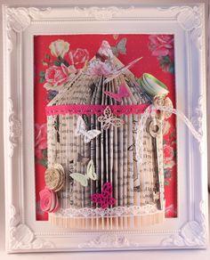 (20) handmade shabby chic bird cage Origami book fold art framed 10 x 8