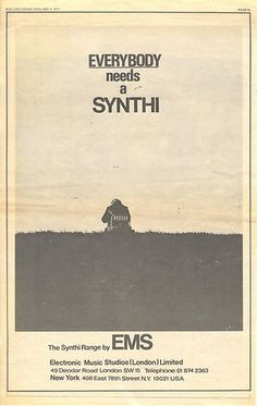 SYNTHI EMS Synthesizer Vintage Music Press Poster Size advert cutting 1973