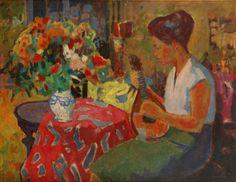 "Lote: 30203412. SANVISENS MARFULL, Ramón (Barcelona, 1917 – 1987). ""Noia amb flors"". Óleo sobre lienzo. Firmado y fechado al dorso. Medidas: 90 x 116,5 cm; 112,5 x 138 cm (marco)."