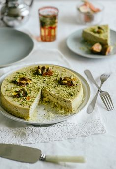 ROSEWATER CHEESE CAKE WITH PISTACHIO is a gorgeous Middle Easter accompaniment to tea, made with pastry dough, cream cheese, pistachios, and enhanced with rose water and pomegranate molasses.