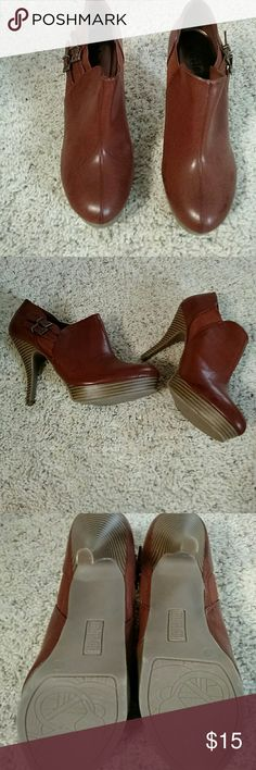 "Stunning unlisted rust colored ankle boots Brown ankle boots.  Never worn.  Gorgeous wooden 4"" heels.  Never worn Unlisted Shoes Ankle Boots & Booties"