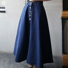 Western Style Front Buttons Long Denim Jean Skirt