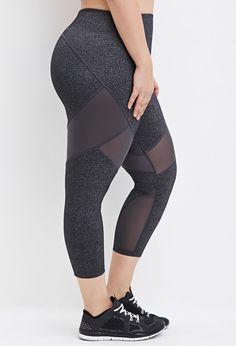 Plus Size Mesh-Paneled Capri Athletic Leggings   Forever 21 PLUS - 2000161305