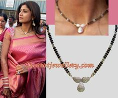 Jewellery Designs: Shilpa Shetty in Black Beads Necklace and Jumkis