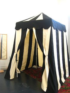 black and white striped tent