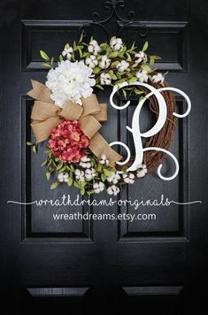 Rose Pink Hydrangea & Cotton Grapevine Wreath with by WreathDreams Front Door Decor, Wreaths For Front Door, Door Wreaths, Front Doors, Diy Wreath, Grapevine Wreath, Monogram Wreath, Wreath Making, Wreath Ideas