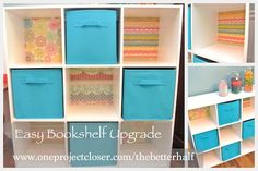 Love this! Easy Bookshelf Upgrade with scrapbook paper