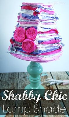 Make a Strippy Shabby Chic Lamp Shade with Crepe Paper Roses - this is an easy tutorial anyone can make.  Try it with the new GE Align™ PM LED Light Bulb   The TipToe Fairy #SleepAligned #Ad