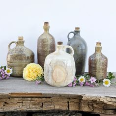 Pottery bottles and jugs made by Cynthia McDowell. Ceramic Decor, Ceramic Pottery, Olive Oil Jar, Ceramics Projects, Ceramics Ideas, Southwest Pottery, Wood Kiln, Wheel Thrown Pottery, Pottery Studio