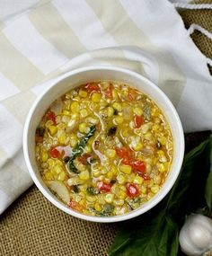 Thickened only with corn, this dairy-free Sweet Corn and Basil Chowder is a great meal on a chilly, fall night. #paleo #dairyfree #soup