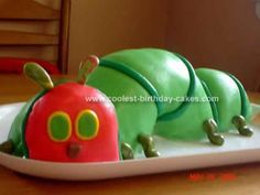 Homemade  Caterpillar Birthday Cake: I got bored a few summers back when I first started making cakes. I decided to make a  Caterpillar Birthday Cake, kind of a cross between the Very Hungry