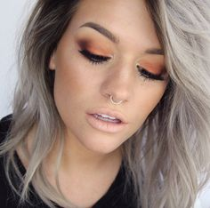 I love this delicate orange eyeshadow on Sam by #makeupgeekcosmetics in Flame Thrower #anastasiabeverlyhills Morocco and Beauty Mark shadows, Lips are #MAC Myth #BATALASH