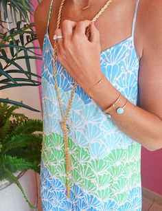 Lilly Pulitzer Dusk Strappy Silk Maxi Dress in Multi Shell, with @baublebar jewels
