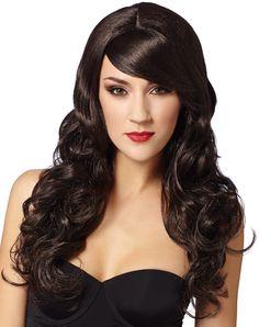 Dark Brown Super Model Wig – Spirit Halloween