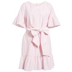 Women's 1901 Ruffle & Bow Dress ($119) ❤ liked on Polyvore featuring dresses, flounce dress, flutter-sleeve dresses, ruffle trim dress, frill dress and pink ruffle dress