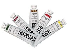 Golden Heavy Body Acrylics - Tubes x 5 Colours - Artists Oil Painting Supplies, Art Supplies, Paint Brush Holders, Bismuth, Liquitex, Painted Pots, Iron Oxide, Paint Brushes, Artist Painting