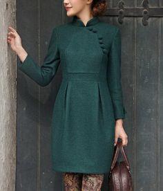 Cheongsam Style Ball Buttons vintage Wool Dress Womens by zeniche, $209.00