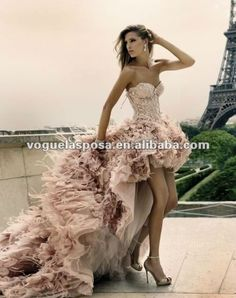 WD001 Ostrich pink feather front short and long back wedding dress $280~$550