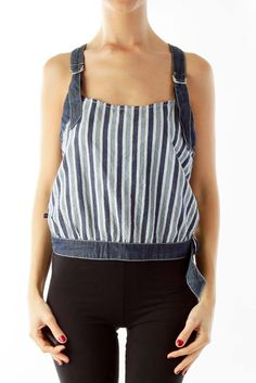 fbb7e880d043a Trendy blue pinstripe crop top by Cerruti Jeans
