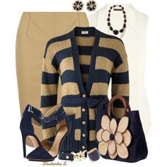 """Stripe Button-Up Cardigan"" by shakerhaallen on Polyvore"