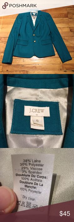 J. Crew blazer Turquoise blazer by J. Crew Factory. Size 0. Mint condition. 2 front pockets sewn shut. J. Crew Jackets & Coats Blazers