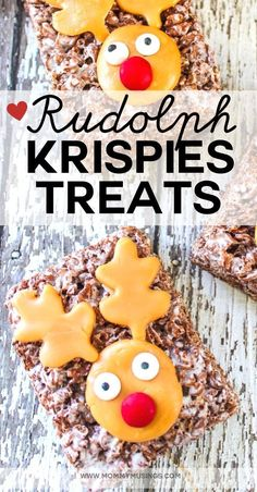 Rudolph Rice Krispies Treats are a fun and delicious dessert for the holidays! Made with Cocoa Krispies, Caramel and other simple ingredients Best Christmas Recipes, Christmas Sweets, Holiday Recipes, Christmas Cookies, Christmas Ideas, Merry Christmas, Christmas Rice Krispies, Cocoa Krispies, Recipe Maker