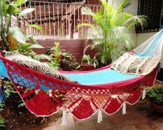 Beige Single Boho Style Hammock hand-woven Natural Cotton