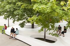 Completed in 2016 in Québec City, Canada. Images by Maxime Brouillet            . For a summer, Le Banc de neige recreates the magical snowbanks left over from Quebec's winter storms. At once a platform and a public bench, the...