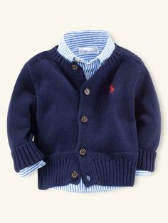 Baby polo button up and cardigan! I HAVE to convince Josh to let me dress our son like this!