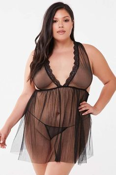 Forever 21 Plus Size Sheer Teddy & G-String Panty Set Forever 21 Plus, Shop Forever, Curvey Women, Curvy Plus Size, G Strings, Sexy Curves, Pop Fashion, Nightwear, Peplum Dress