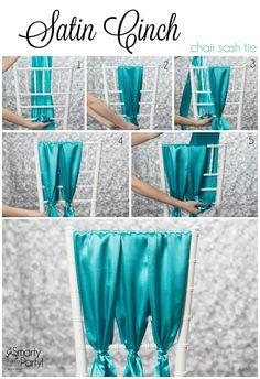 How to tie a Satin Cinch chair sash! | SmartyHadAParty.com