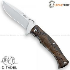 """CITADEL & FOX FKMD DEIMOS Tactical Military Knife FX-0110W, tactical military knives with blade of N690Co Cobalt Vanadium stainless steel of high quality Satin Finished - HRC 58/60 - Blade lenght 4.5"""" - Thickness 0.16"""" - Handle made with two steel liners and Ziricote Wood inserts cnc machined for a better grip, a very elegant and precious tropical wood of dark brown color coming from Central America and Mexico - Liner Lock system - Reversible Back Clip - Safety blade system L.A.W.K.S...."""