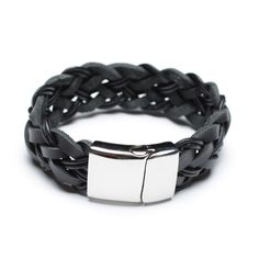 black leather bracelets for men. 00488