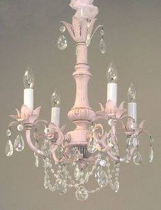 Lighting - Chandeliers - Pleasant Dreams 4-Arm Crystal Chandelier - Cottage Haven Interiors #shabbychicpink